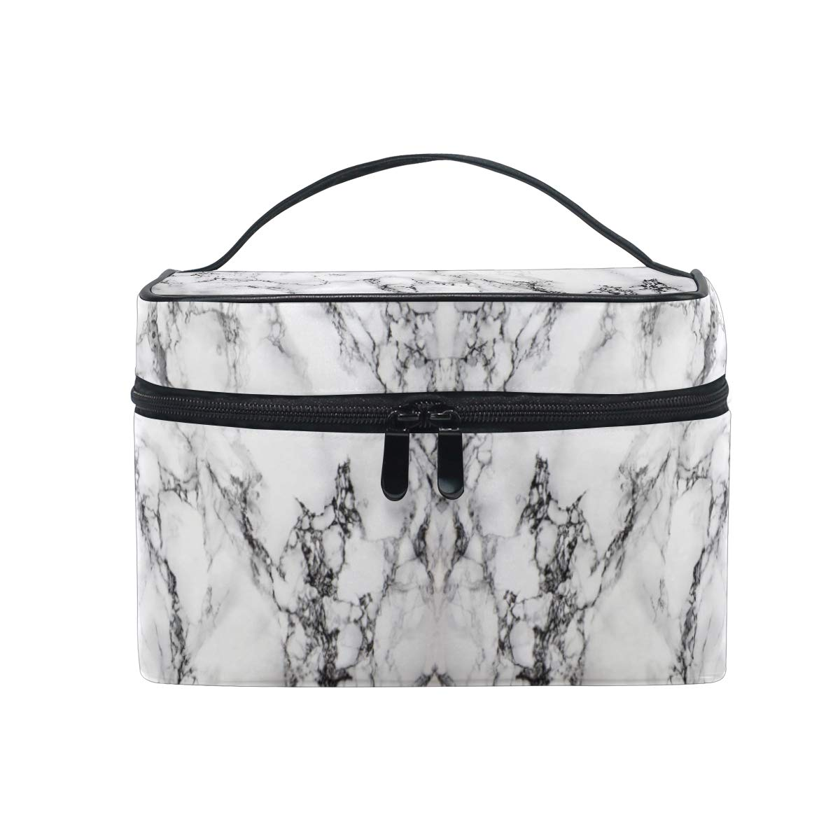 ZOEO Makeup Train Case White Marble Stone Korean Carrying Portable Zip Travel Cosmetic Brush Bag Organizer Large for Teen Girls Women
