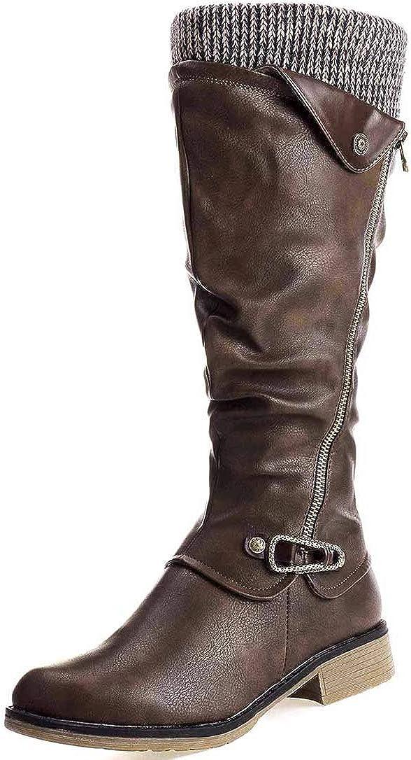 Camfosy Damen Hohe Stiefel,Warme Fell Gefüttert Schneestiefel Reitstiefel Niedrige mit Absatz Komfort Beiläufige Schnalle Langschaft Kniehohe Stiefel