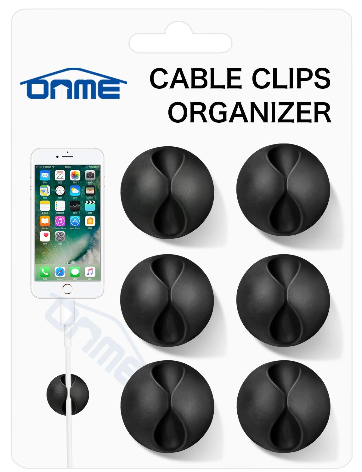 ONME Multipurpose Cable Clips (Black 6pcs)