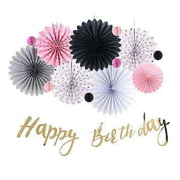 Sunbeauty decoration anniversaire 30 ans femme rose or noir happy birthday banderole cadeaux de - Decoration anniversaire 30 ans femme ...