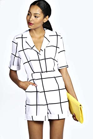 0193bec965 Womens Sara Large Grid Check Pyjama Style Playsuit - Ivory - 8 ...