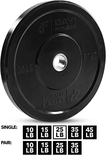 Day 1 Fitness Olympic Bumper Weighted Plate 2 Barbells, Bars CHOOSE FROM 9 Singles Pairs, and 160, 210, 230, or 250 Weight Sets – Shock-Absorbing, Minimal Bounce Steel Weight with Bumpers