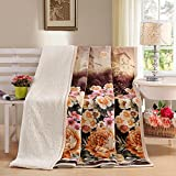 HOLY HOME Sherpa Blanket Double-layered Throw Berber Fleece & Flannel Soft and Thick Blanket Sheet Breathable and Comfortable Bedclothes Lamb Wool Series to Home Queen Size 80''x88'' Peony Red