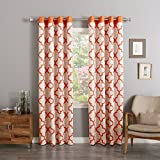 Cheap Best Home Fashion Top Reverse Moroccan Curtains – Stainless Steel Nickel Grommet – 52″W x 63″L – Orange (Set of 2 Panels)