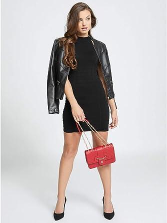 96b51d8c823 G by GUESS Women s Aliana Mock Neck Sweater Dress Jet Black at Amazon Women s  Clothing store