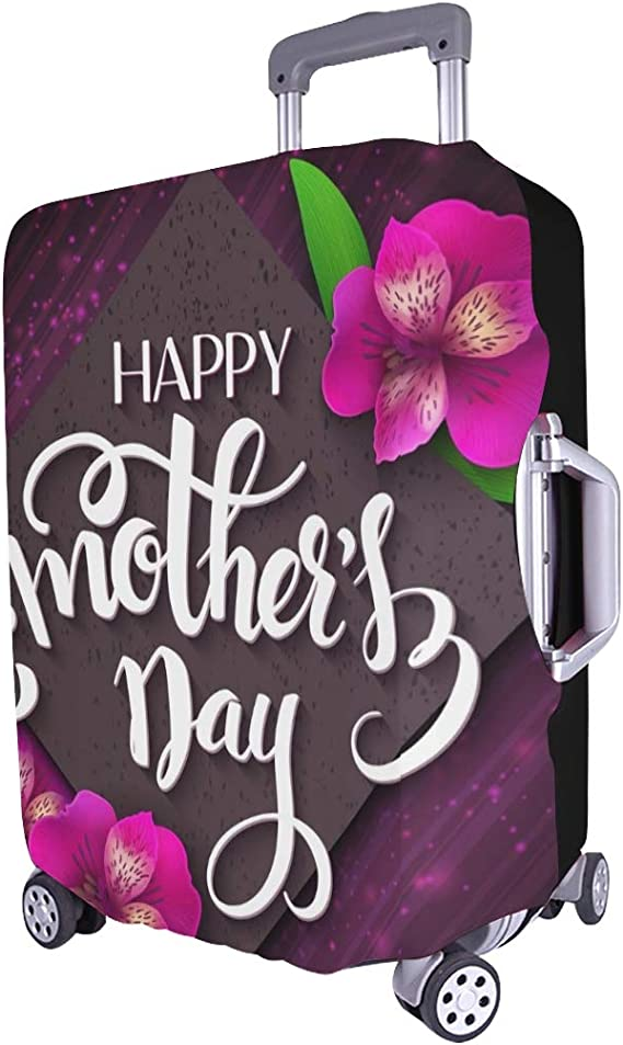 Hand Drawn Mothers Day Lettering Spandex Trolley Case Travel Luggage Protector Suitcase Cover 28.5 X 20.5 Inch