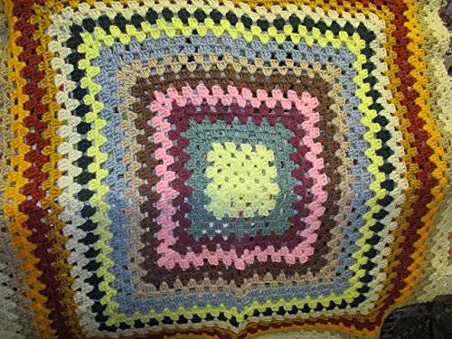 (Hand Crocheted Multi Colored Granny Square Afghan)