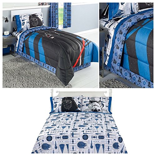 disney star wars darth vader reversible comforter sheets and pillow case set