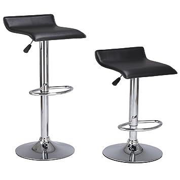 Set Of 2 Bounder PU Leather Barstool Coavas Black Modern Adjustable Swivel  Kitchen Dining Counter Or