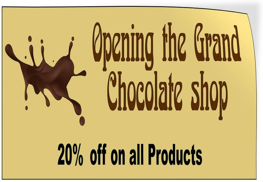 Custom Door Decals Vinyl Stickers Multiple Sizes Opening The Grand Chocolate Shop Lifestyle Grand Opening Outdoor Luggage /& Bumper Stickers for Cars Black 28X20Inches Set of 10