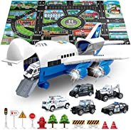 SLENPET Car Toys Set with Transport Cargo Airplane and Large Play Mat, 6 Vehicles, 1 Large Plane, 11 Road Sign