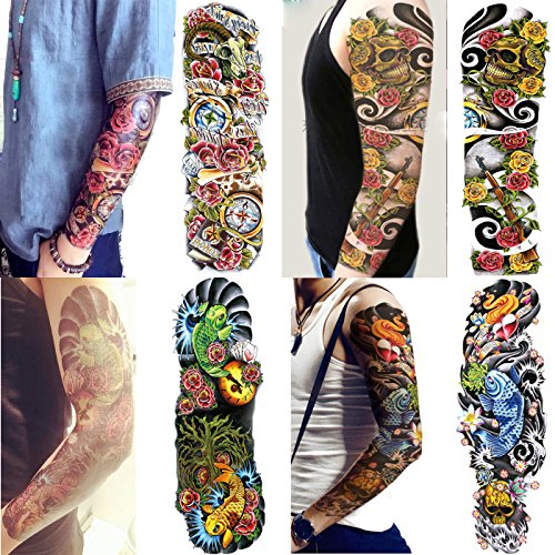 Skull And Roses Tattoo Sleeve (Leoars 4 Sheets Waterproof Large Temporary Tattoo Sleeve Full Arm Tattoo Sticker Body Art Makeup for Men Women Fake Tattoos Sleeve Designs Rose Carp Skull)