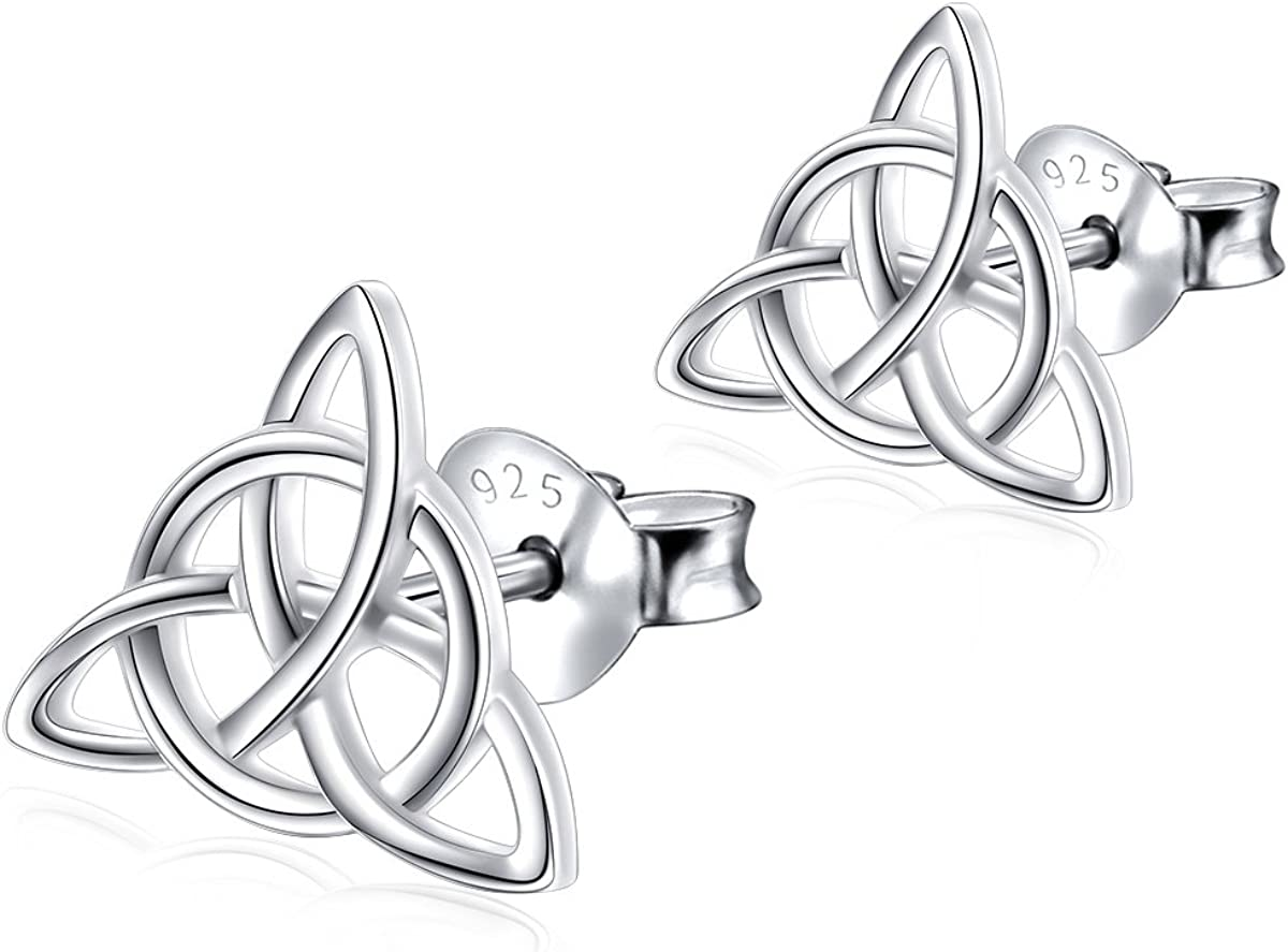 925 Sterling Silver Good Luck Irish Celtic Knot Triangle Vintage Stud Earrings