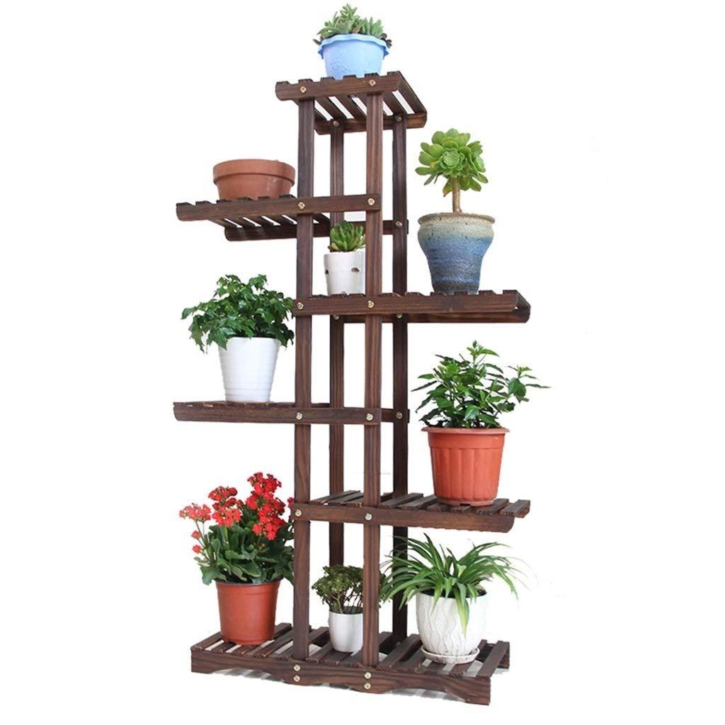 6層台形木製フラワースタンド、バルコニー垂直テラスフラワーポット装飾植物スタンド、庭に適し、廊下、屋内 B07RWD8T4D