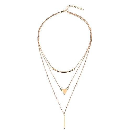 Kette Halskette Lange Kette mit Anhänger Dreieck Design in Silber oder Gold