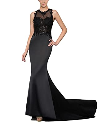 Womens Long Mermaid Prom Dresses 2018 Formal Gown with Train Size 2 Black