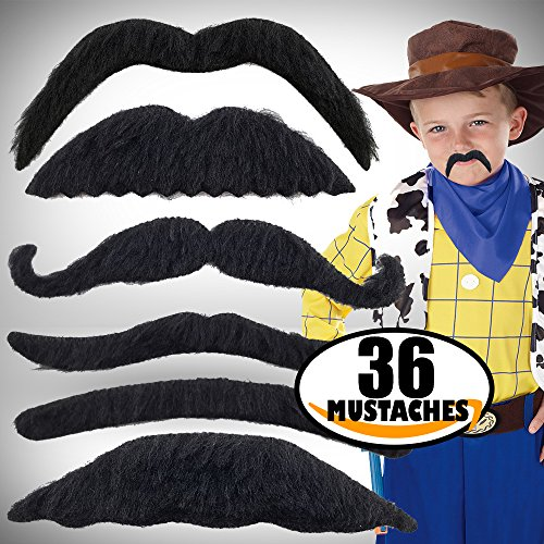 iKidoos® Fake Mustaches for Kids 36 Pack (Bonus 150 Tattoos) Self Adhesive Mustache for Adults (Costumes With Mustaches Ideas)
