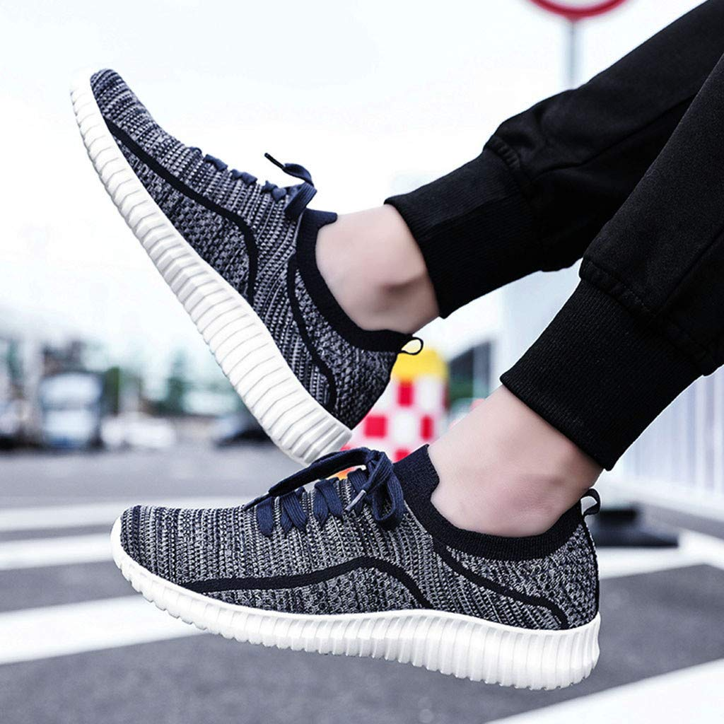 Mens Sneakers Dacawin Summer Trend Flying Woven Breathable Lace-up Lightweight Anti-Skid Sport Running Shoes