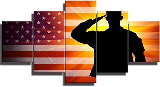 United States USA Stars and Stripes Silhouette Wall Art Various Colours//Sizes
