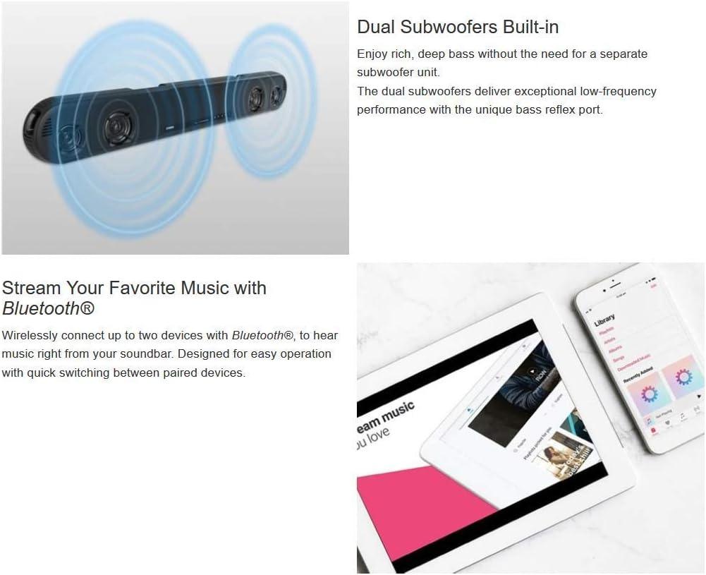 "Yamaha Bluetooth Soundbar with Dual Built-in Subwoofers, Black, 35"" (Renewed)"