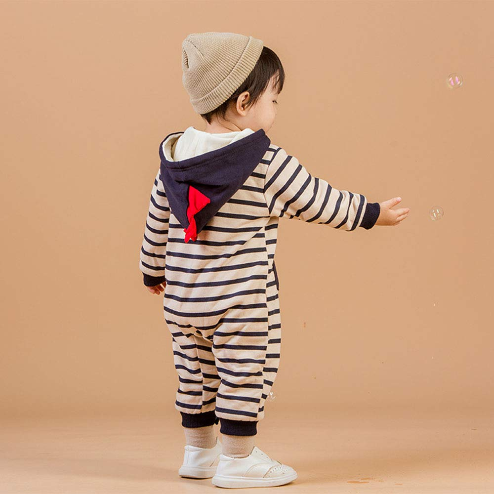 Infant Baby Boy Girl Shark Striped Romper Thick Costume Jumpsuit Size 6-9M Black