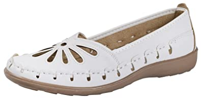 RV0HLLG3 Women White WOMENS FAUX LEATHER CASUAL COMFORT LOAFERS CUT OUT FLEXI SOLE FLAT SHOES SANDALS LADIES SIZES 3 8 Professional Design