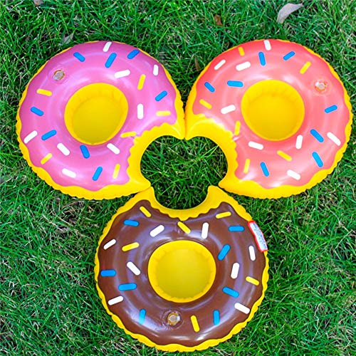 Inflatable Drink Holder, 12 PCS 8 Inches Donuts Floating Coasters 3 Color Doughnut for Pool Party Water Fun by HansGo