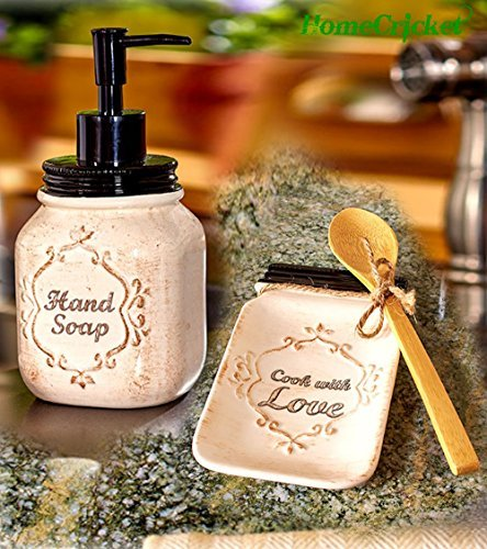 Kitchen Collection Ceramic Spoon Rest (Antique Country Mason Jar Kitchen Soap Dispenser & Ceramic Spoon Rest With Bamboo Spoon Set)