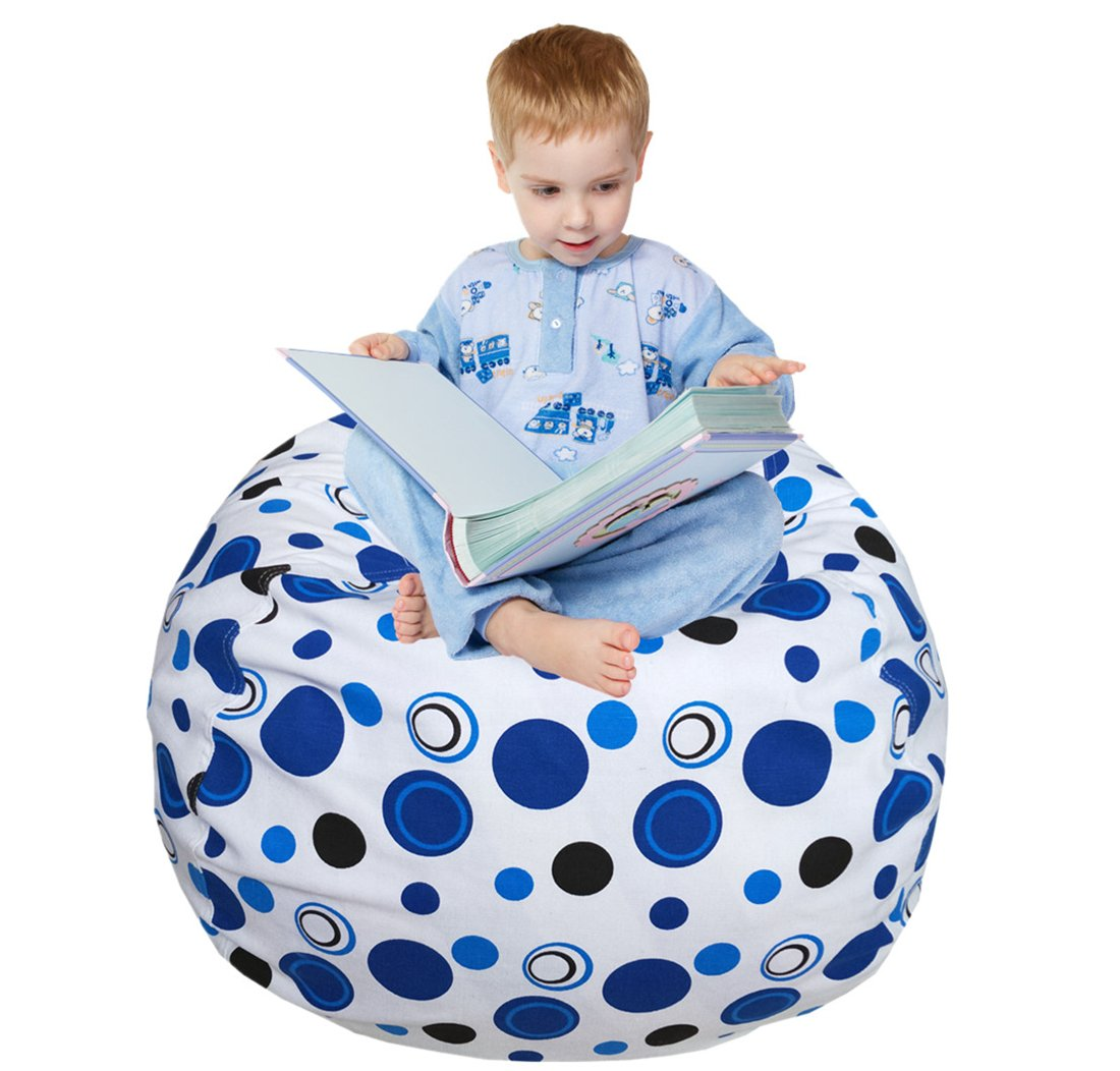 EDCMaker Kids Comfy Chair Cover, Perfect for Storing Stuffed Animals, Clean Up Your Room And Play Area, Fashion Blue Polka-Dot Design - 38''