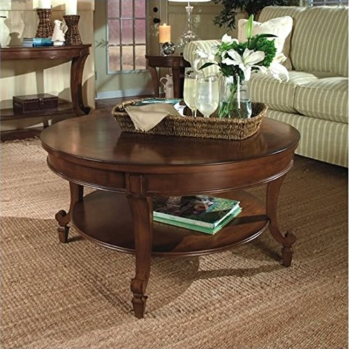 - Magnussen Aidan Round Cocktail Table and End Table Set in Cinnamon Finish