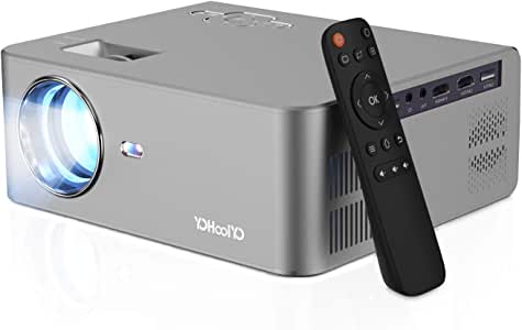 YOHOOLYO Mini Projector Portable Video Projector Home Cinema Projector 5500 Lumens Support 1080P Video 200 Inch Projection Size Compatible with HDMI / USB / VGA / SD / AV / Smartphone / Laptop /TV Box