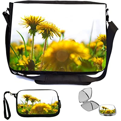 Rikki Knight Dandelions on Grass Design COMBO Multifunction Messenger Laptop Bag - with padded insert for School or Work - includes Wristlet & Mirror