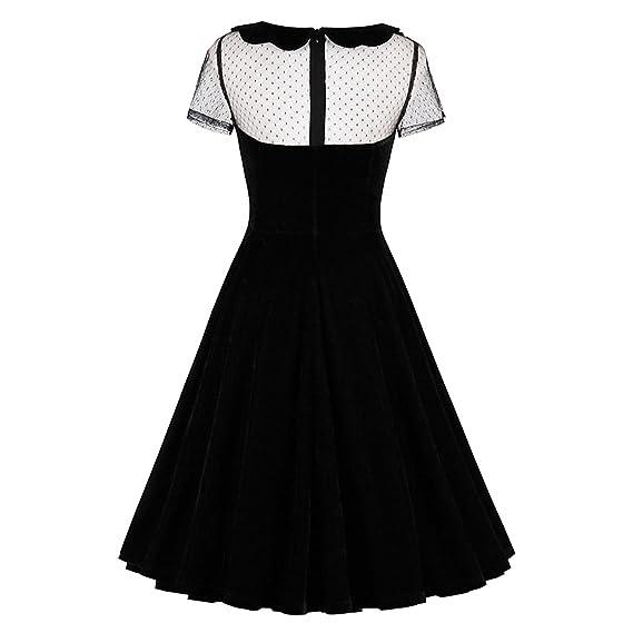 Amazon.com: 9jubyggfmh skirt Womens Party Dress Sexy Black Solid DressesDress Peter Pan Collar Dresses: Clothing