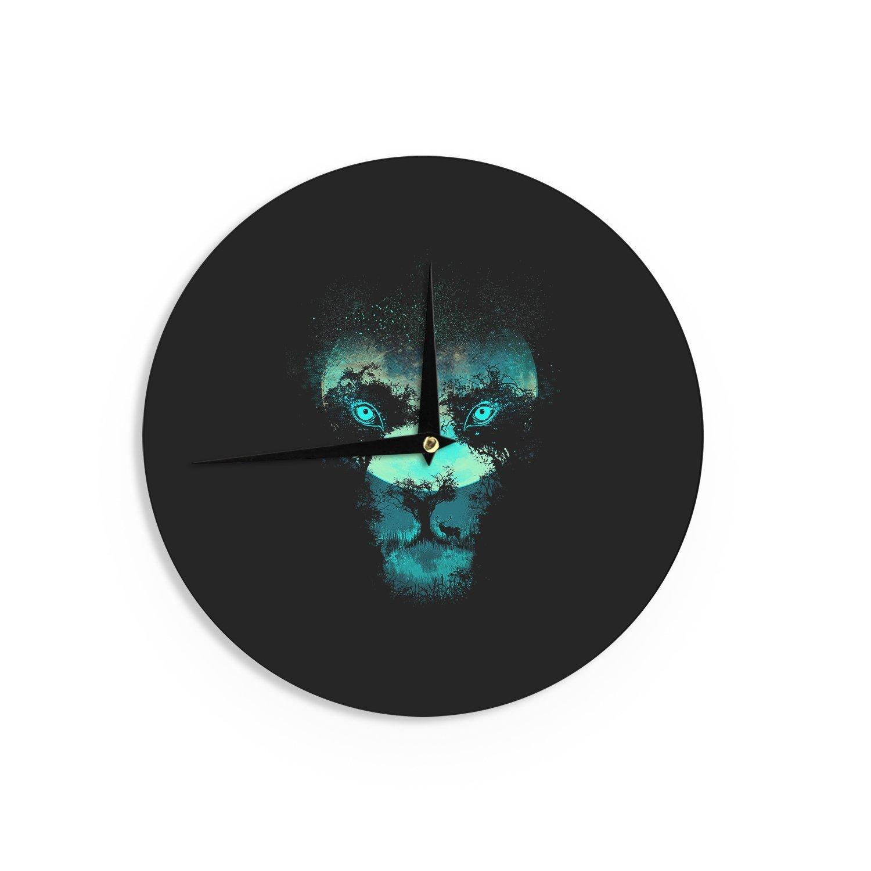 12-Inch Kess InHouse Digital Carbine Silence Hunter Green Animals Wall Clock