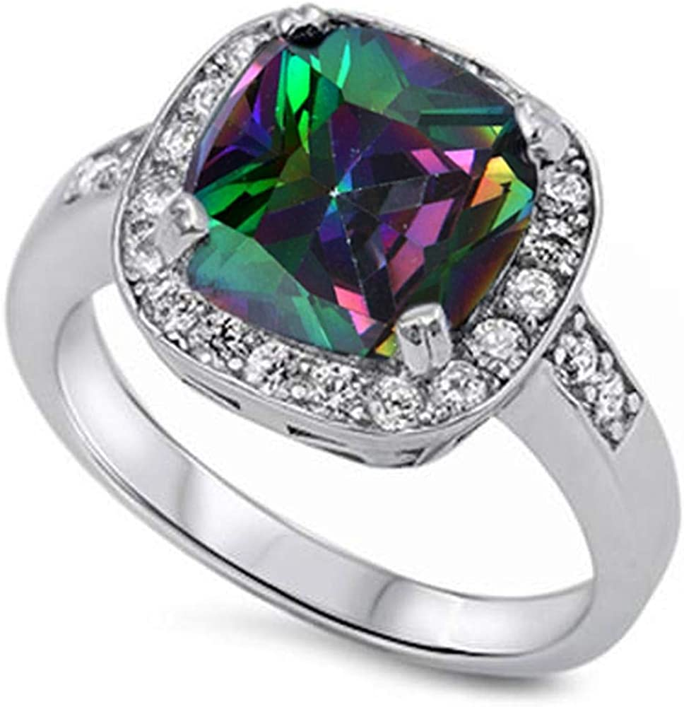 Princess Kylie Cushion Cut Synthetic Rainbow Topaz Cubic Zirconia Bridal Ring Sterling Silver Size 6