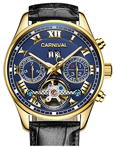 PASOY Carnival Men's Watch Automatic Tourbillon Black Leather Band Date Week Skeleton Analog Gold Watches by PASOY