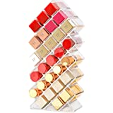 Tasybox Clear Lipstick Holder Organizer, 28 Spaces Acrylic Lipgloss Organizers and Storage Box Display Stand