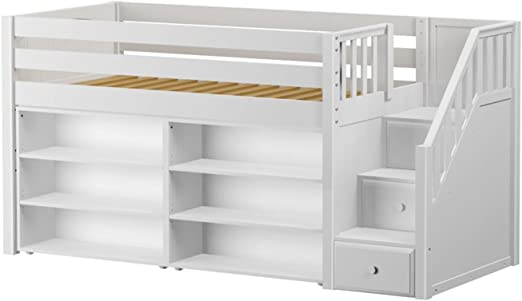 Amazon Com Maxtrix Solid Hardwood Twin Size Low Loft Bed With Storage Staircase Entry 2 Bookshelves White Furniture Decor