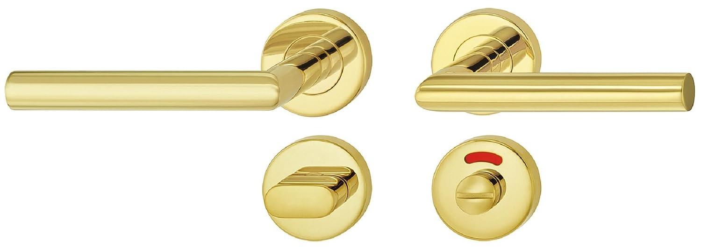Messing PVD-beschichtet 1 Set Toiletten Befestigungsmaterial JUVA Design T/ürbeschlag Edelstahl Dr/ückergarnitur auf Rund-Rosette f/ür Zimmert/üren T/ürdr/ücker-Garnitur L-Form inkl WC LDH 2171