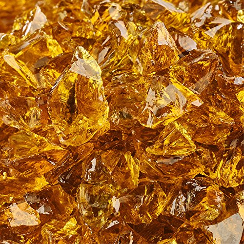 Amber Fire Glass for Indoor and Outdoor Fire Pits or Fireplaces | 10 Pounds | Cowboy Brown, Crushed Fire Glass, 1/2 Inch - 3/4 Inch