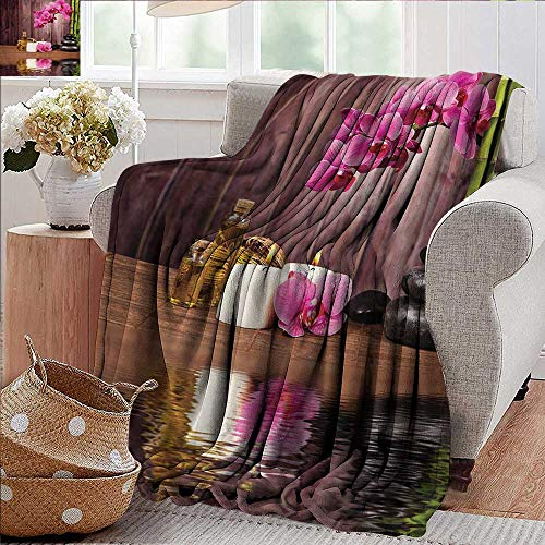 PearlRolan Weighted Blanket,Spa,Spa Flower and Water Reflection Aromatherapy Bamboo Blossom Candlelight Print,Pink Green Umber,Indoor/Outdoor, Comfortable for All Seasons 60