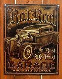 Rat Rod Garage Distressed Retro Vintage Tin Sign 13 x 16in