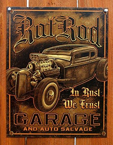 (Rat Rod Garage Distressed Retro Vintage Tin Sign 13 x 16in)