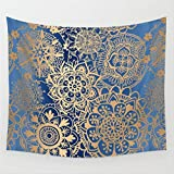 Willing Life Boho 59X51 Inch Yoga Tapestry Gear Flower Pattern Hippy Gypsy Wall Hanging Bedspread Curtain Couch Cover Beach Cover-up Decor for Home Living Room Bedroom Girl's Dorm(Blue Gear, Medium)