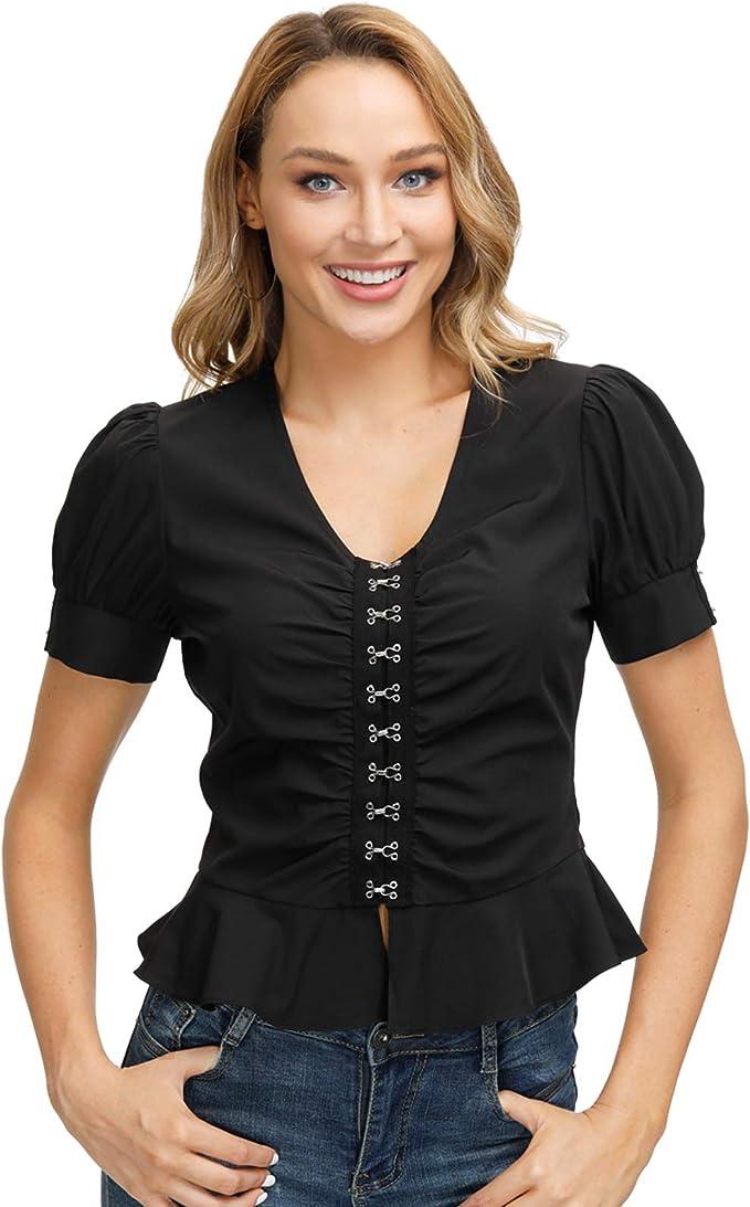 Women/'s Renaissance Lace Up Shirt Steampunk Victorian Tops Puff Sleeve