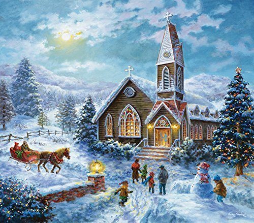 SunsOut Parents Pray - Christmas Church Winter Scene - 300 pc Jigsaw Puzzle