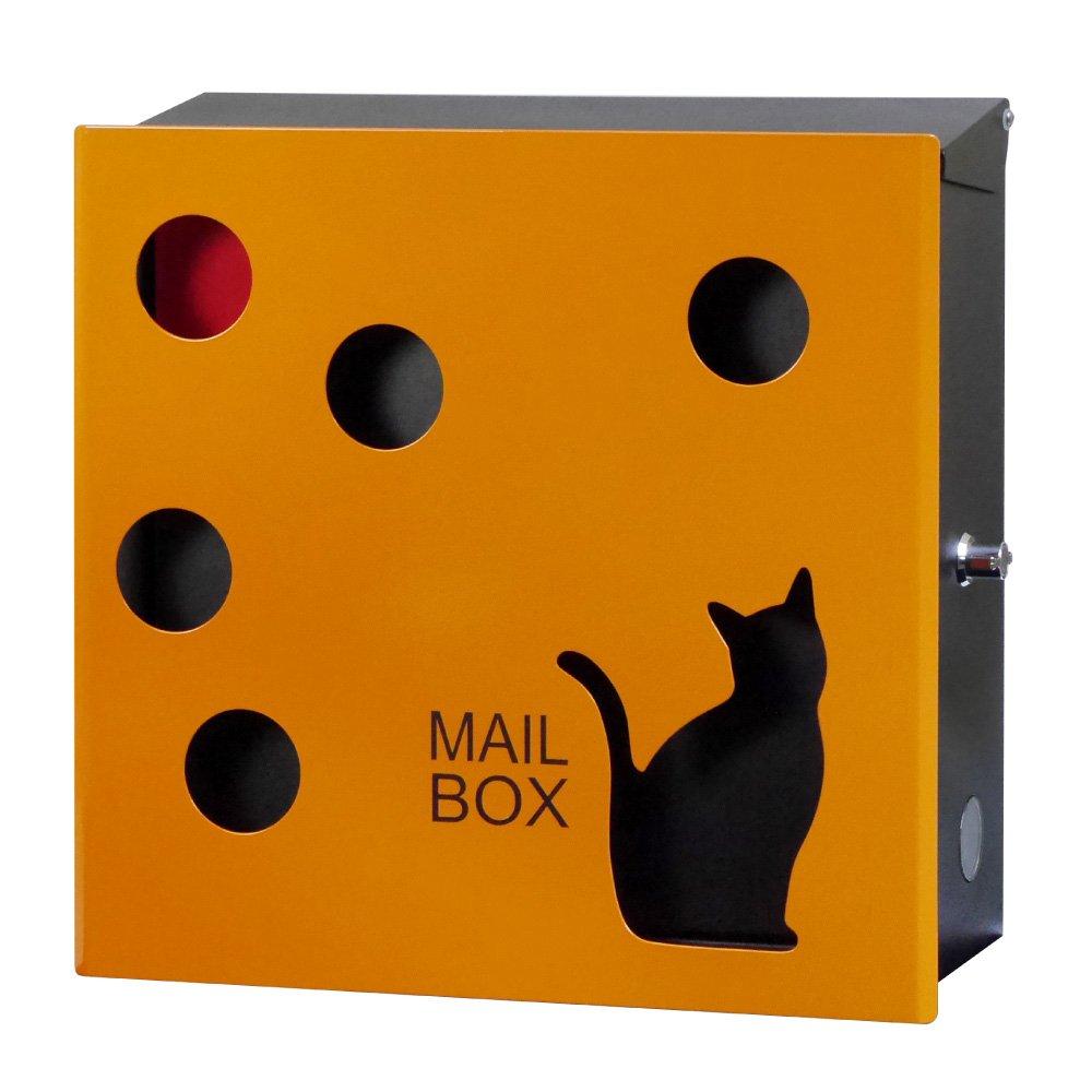 EUROデザイナーズポスト ユーロデザイナーズポスト MB5104ネコ オレンジ 郵便受け MB5104cat-KL-ORANGE 094 奥行37×高さ35×幅13cm B06Y62M9BF 24462