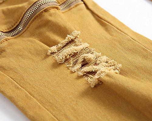 Para Fit Oscuro Pantalones Caqui Pantalón Flex Skinny Slim Vaquero Jeans Hombre wvna5w0Yqp