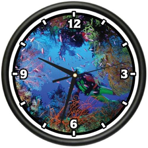 SignMission Scuba Wall Clock Diver Dive fins mask Gift, Beagle