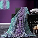 Purple and Turquoise throw blanket Hippie Ombre Mandala Inner Peace and Meditation with Ornamental Art miracle blanket Purple Aqua size:59''x35.5''